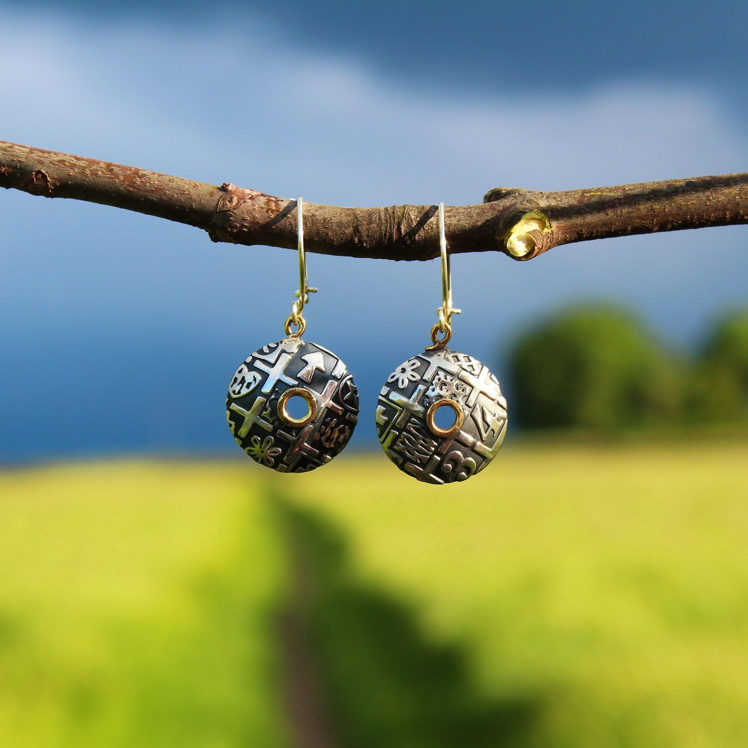 Oxidised domed silver earrings